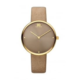 Ladies Gold PVD Stainless Steel Watch with Taupe Strap