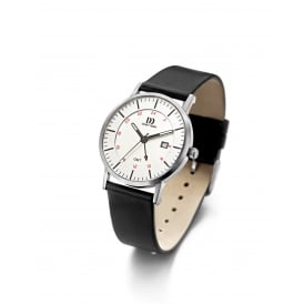 Men's Stainless Steel Watch with Black Leather Strap