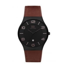 Men's Titanium Watch with Black Dial and Brown Strap