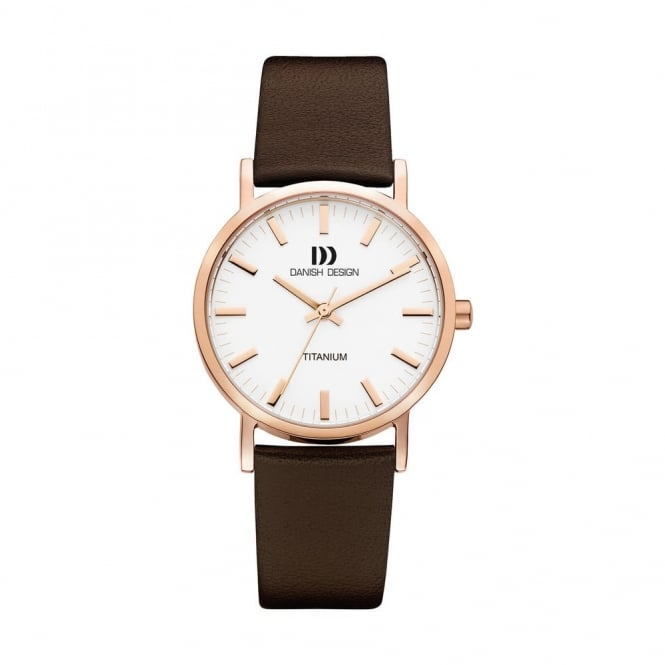 Danish Design Rose Coloured Titanium Watch with Brown Leather Strap