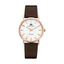 Rose Coloured Titanium Watch with Brown Leather Strap