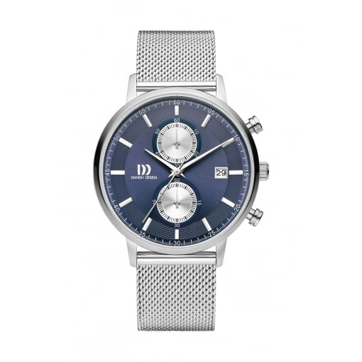 Danish Design Stainless Steel Chronograph with Blue Dial and Stainless Steel