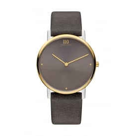 Titanium Watch with Gold PVD Finish Grey Dial and Leather Strap.