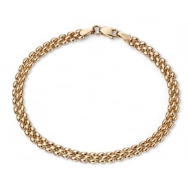 9ct Gold 3 Row Panther Link Bracelet