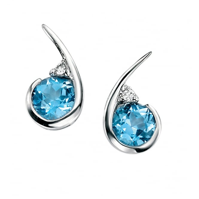 Elements Gold 9ct Gold Blue Topaz and Diamond Drop Earrings