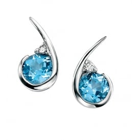 9ct Gold Blue Topaz and Diamond Drop Earrings