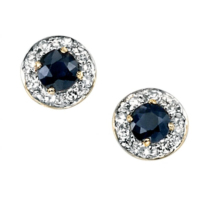 Elements Gold 9ct Gold Sapphire and Diamond Stud Earrings