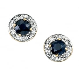 9ct Gold Sapphire and Diamond Stud Earrings