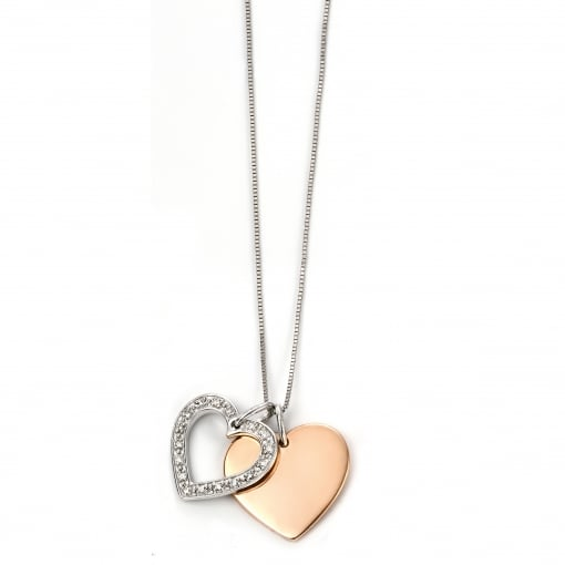 Elements Gold 9ct Rose and White Gold Double Heart Pendant