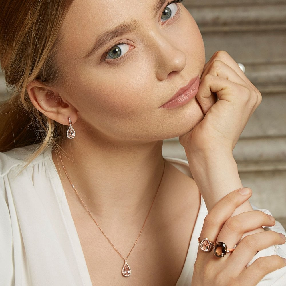 9ct Rose Gold 0.50ct Morganite Pear Cut Solitaire Stud Earrings Gift Boxed