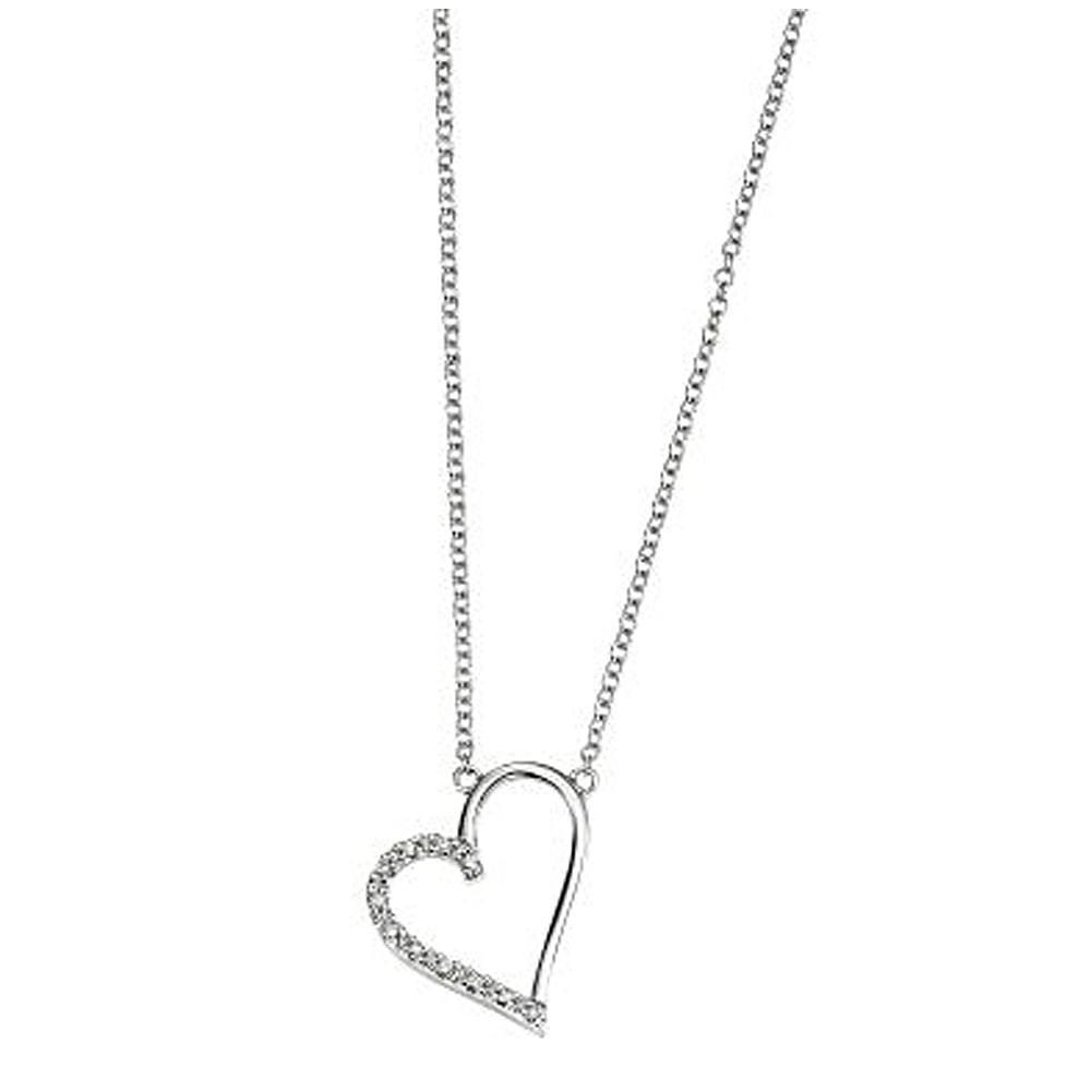 68c757e2a6498e 9ct White Gold Diamond Set Heart Pendant - Pendant Design Ideas