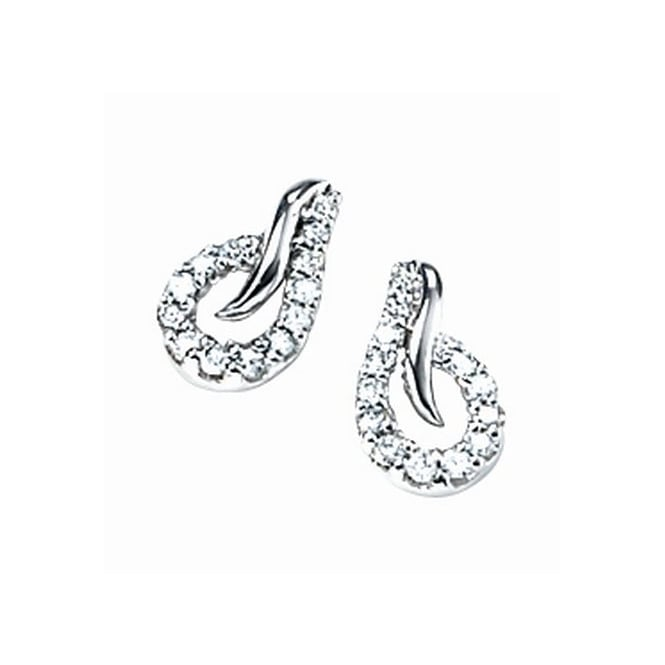 Elements Gold 9ct White Gold Open Teardrop Earrings Set with Diamonds