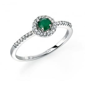 9ct White Gold Ring with Emerald and Diamonds