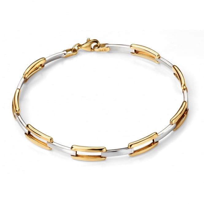 Elements Gold 9ct Yellow and White Gold Rectangular Link Bracelet