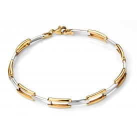 9ct Yellow and White Gold Rectangular Link Bracelet