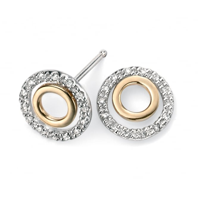 Elements Gold 9ct Yellow and White Gold Stud Earrings with Two Open Circles