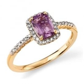 9ct Yellow Gold Amethyst and Diamond Cluster Ring