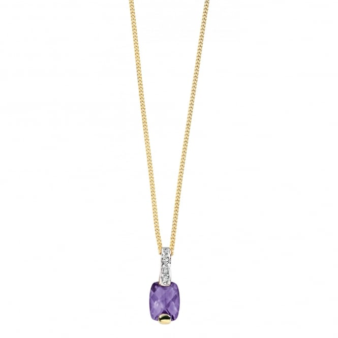 Elements Gold 9ct Yellow Gold Amethyst and Diamond Pendant