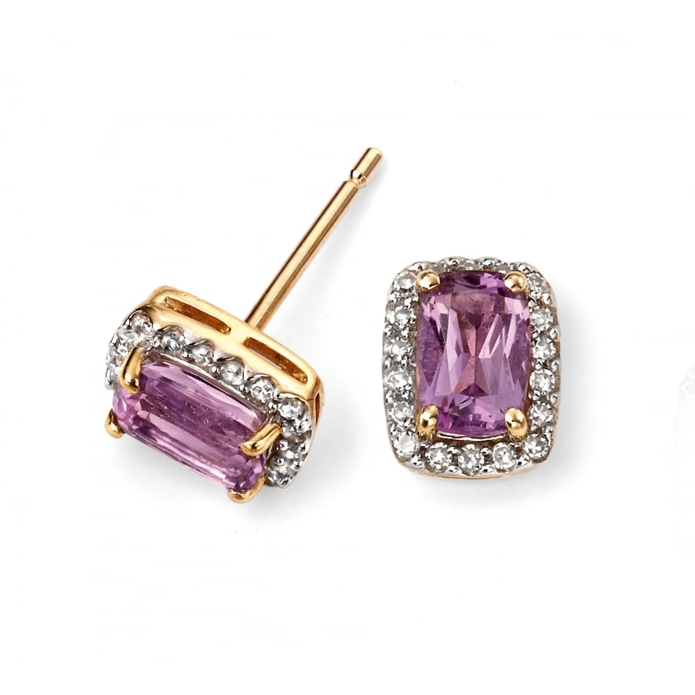 1d5514f9e Elements Gold 9ct Yellow Gold Amethyst and Diamond Stud Earrings ...