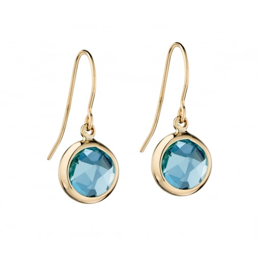 Elements Gold 9ct Yellow Gold Blue Topaz Drop Earrings