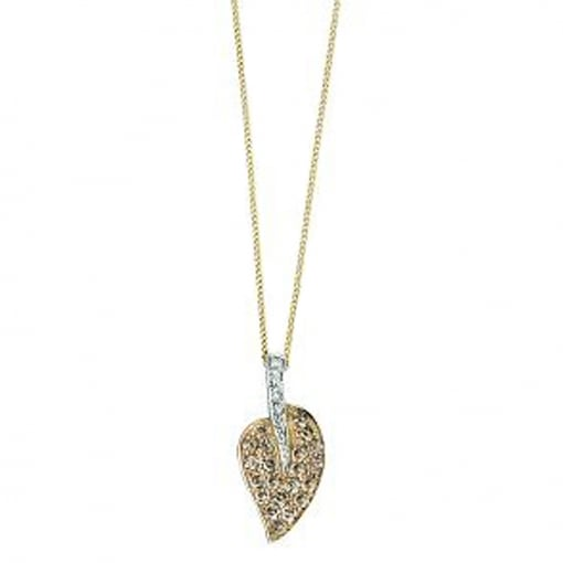 Elements Gold 9ct Yellow Gold Diamond Leaf Pendant.
