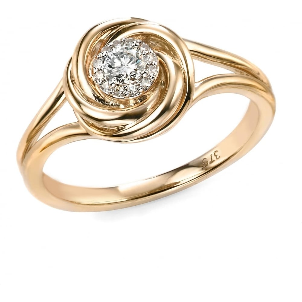 Elements Gold 9ct Yellow Gold Diamond Swirl Ring Ladies From Goodwins Jewellers Uk
