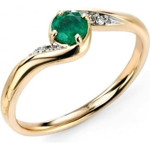 Elements Gold 9ct Yellow Gold Emerald and Diamond Ring