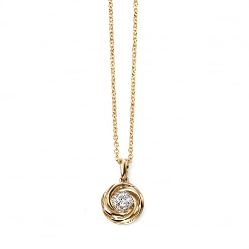 Elements Gold 9ct Yellow Gold Swirl Pendant with Diamonds