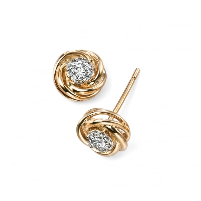 Elements Gold 9ct Yellow Gold Swirl Stud Earrings with Diamond