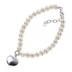 Freshwater Pearl Bracelet with a Silver Heart