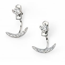 Elements Silver Half Moon Earrings with Cubic Zirconia
