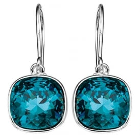 Silver and Turquoise Swarovski Crystal Drop Earrings.
