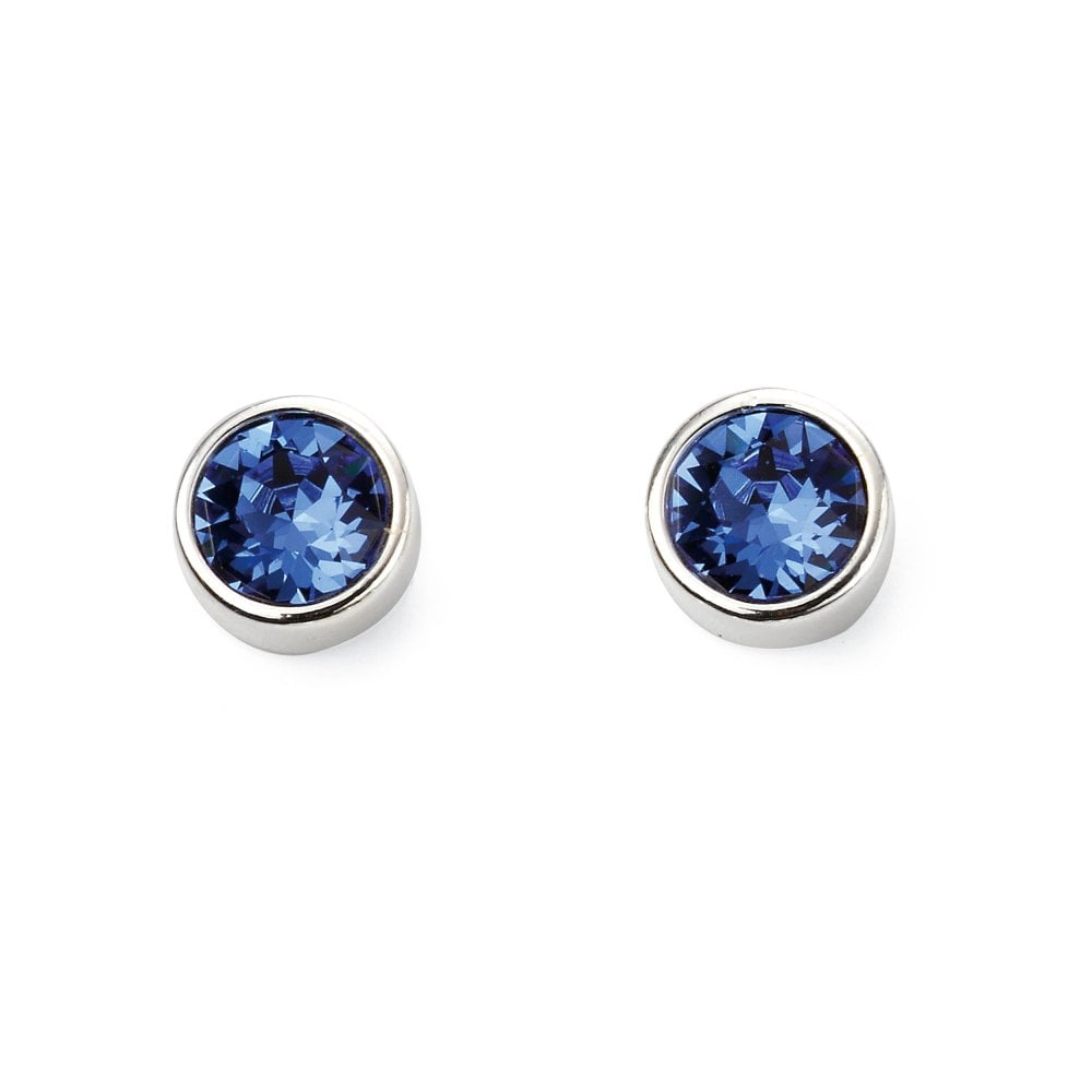 Silver Blue Swarovski Crystal Stud Earrings