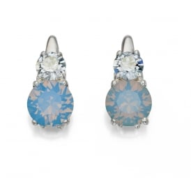 Silver earrings set with Pale Blue Swarovski Crystals