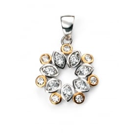 Silver Flower set with Cubic Zirconia with Gold Plated Detail