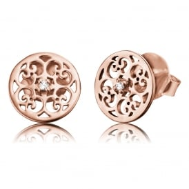 Rose Gold Plated Stud Earrings with Cubic Zirconia