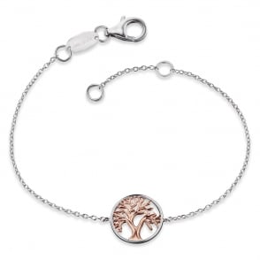 Silver and Rose Plated Tree of Life Bracelet