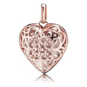 Silver Heart Shaped Locket with Rose Plating with White Soundheart