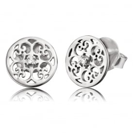Silver Stud Earrings with Cubic Zirconia