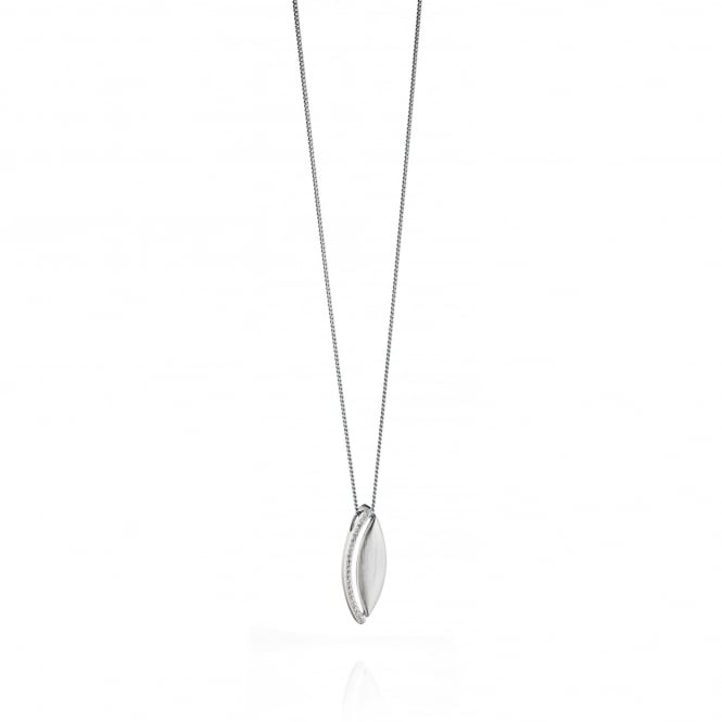 Fiorelli Brushed Silver Pendant with Cubic Zirconia