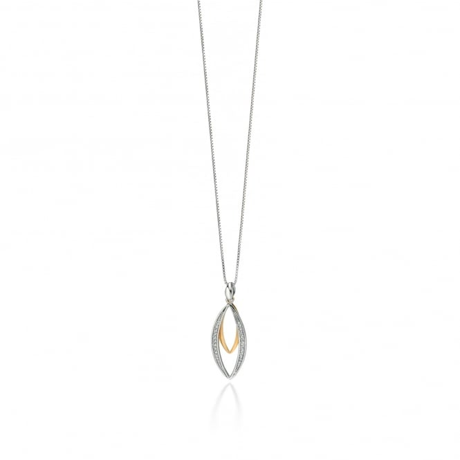 Fiorelli Marquise Pendant with Gold Plating and Cubic Zirconia