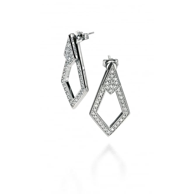 Fiorelli Open Kite Shaped Silver Earrings with Cubic Zirconia