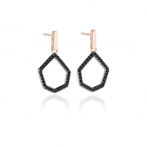 Fiorelli Rose Plated Silver and Black Cubic Zirconia Drop Earrings