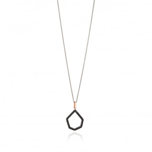 Fiorelli Silver and Black Cubic Zirconia Pendant with Rose Plated Detail