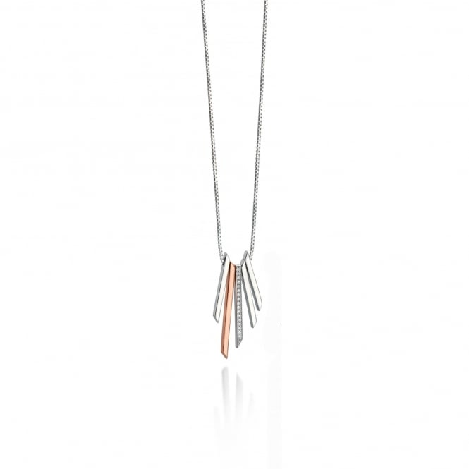 Fiorelli Silver and Rose Gold Bar Necklace with Cubic Zirconia
