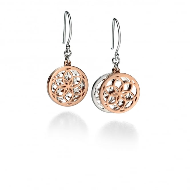 Fiorelli Silver and Rose Gold Plated Disc Earrings