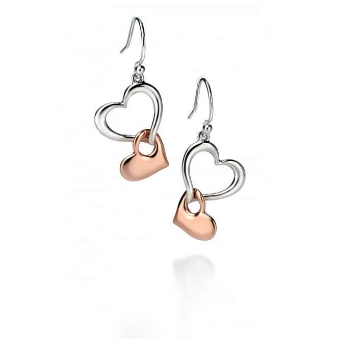 Fiorelli Silver and Rose Gold Plated Double Heart Earrings