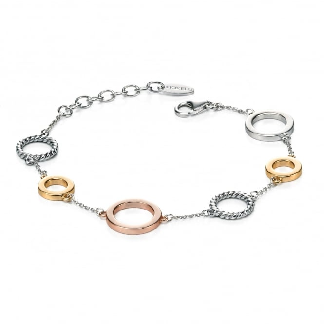 Fiorelli Silver Bracelet with Rose and Gold Plated Discs
