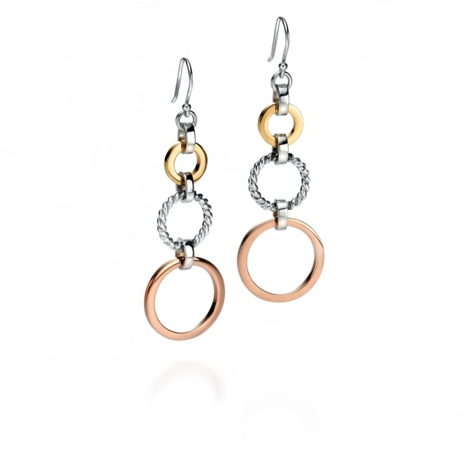 Fiorelli Silver Earrings with Rose and Gold Plated Discs