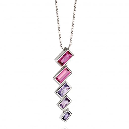 Fiorelli Silver Pendant with Pink and Purple Stones